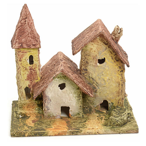 Nativity setting, stuccoed houses with bell tower 1