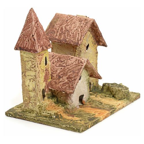 Nativity setting, stuccoed houses with bell tower 2