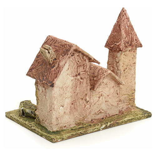 Nativity setting, stuccoed houses with bell tower 3