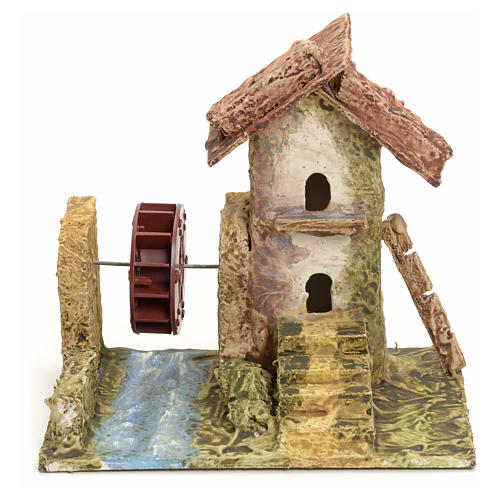 Nativity setting, house with mill in stuccoed wood 1