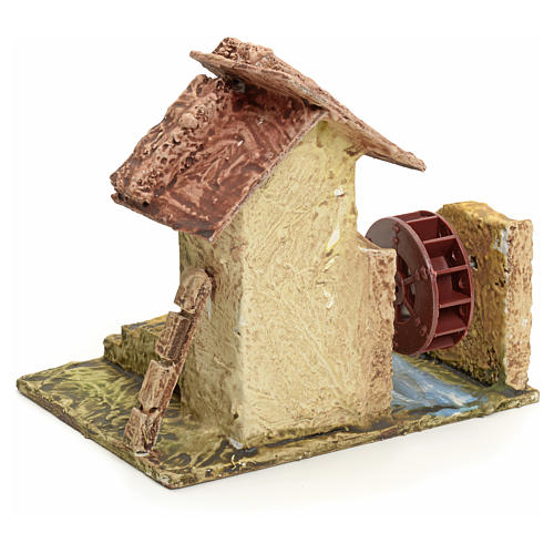 Nativity setting, house with mill in stuccoed wood 3