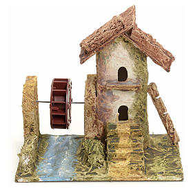 Nativity setting, house with mill in stuccoed wood s1