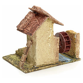 Nativity setting, house with mill in stuccoed wood s3