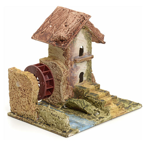 Nativity setting, house with mill in stuccoed wood 2