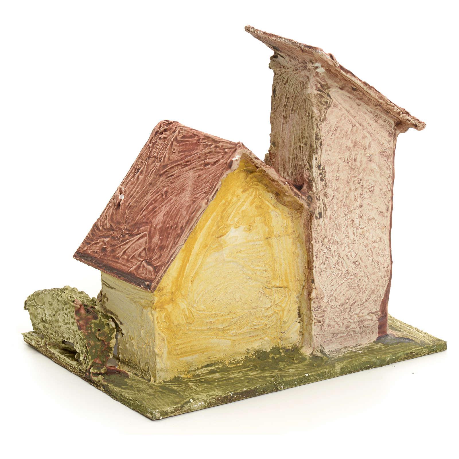 Casolare presepe in legno stuccato 4