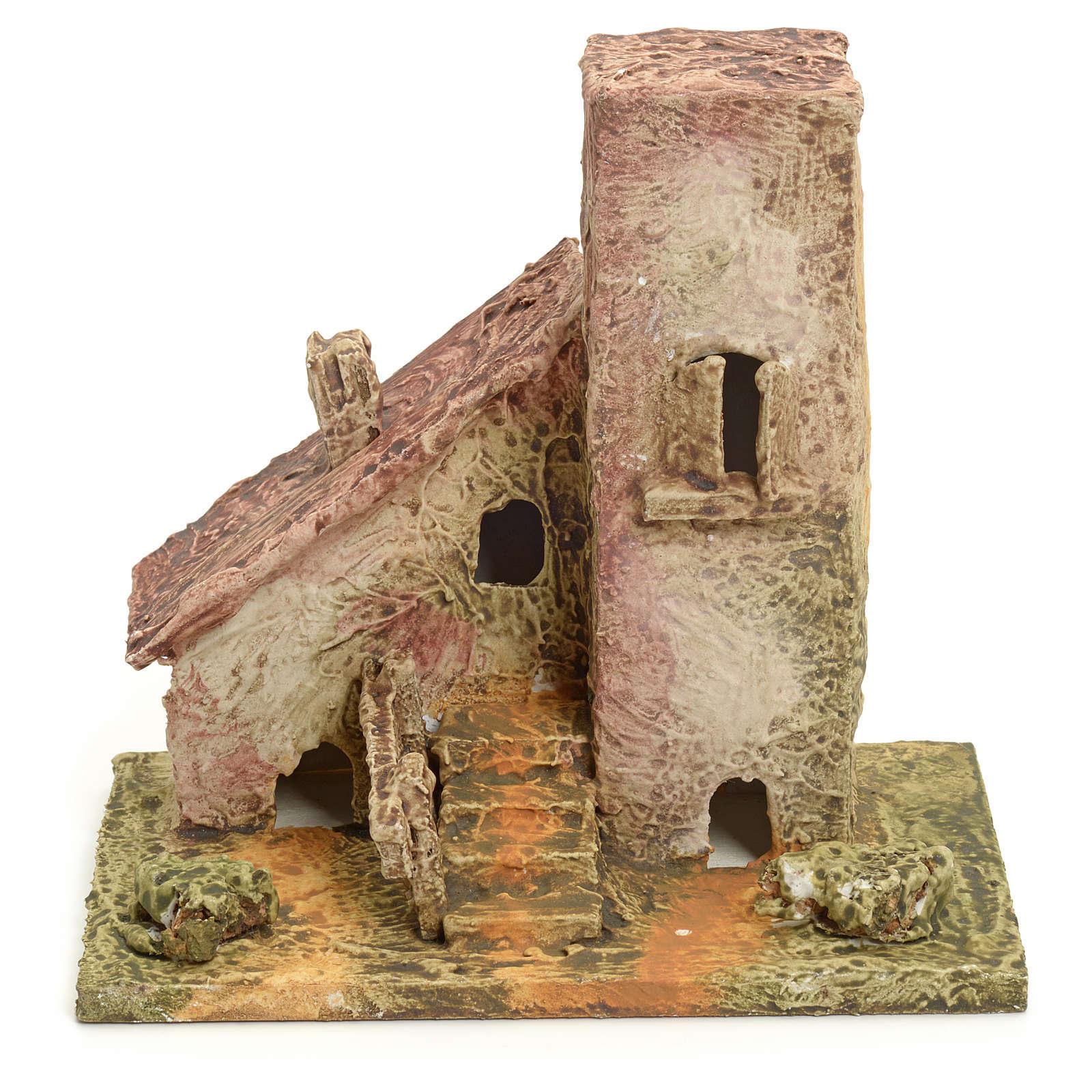 Maison en miniature en bois stucqué pour crèche 4