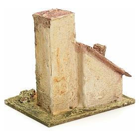 Maison en miniature en bois stucqué pour crèche s3
