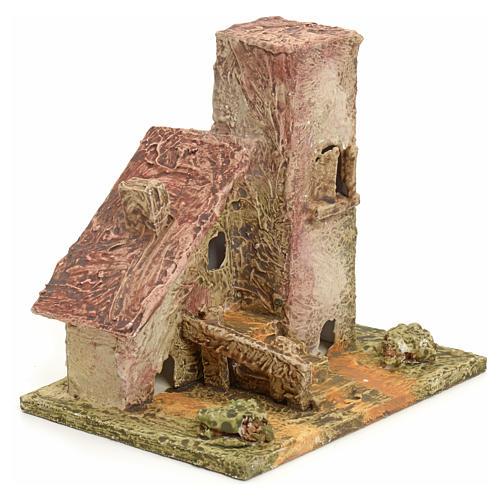Maison en miniature en bois stucqué pour crèche 2
