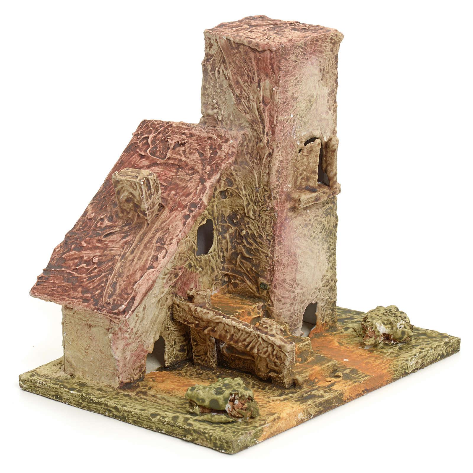 Nativity setting, house in stuccoed wood 4