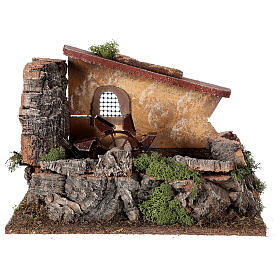 Nativity setting, electric water mill with house s1