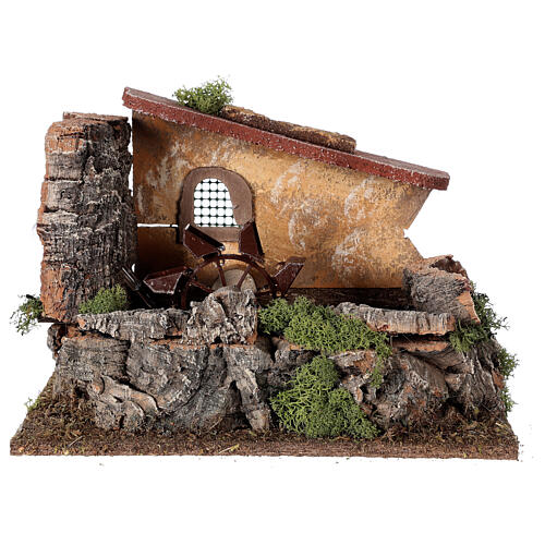 Nativity setting, electric water mill with house 1