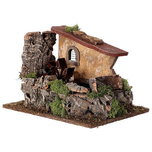 Nativity setting, electric water mill with house 2