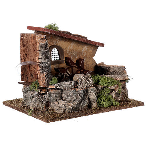 Nativity setting, electric water mill with house 3