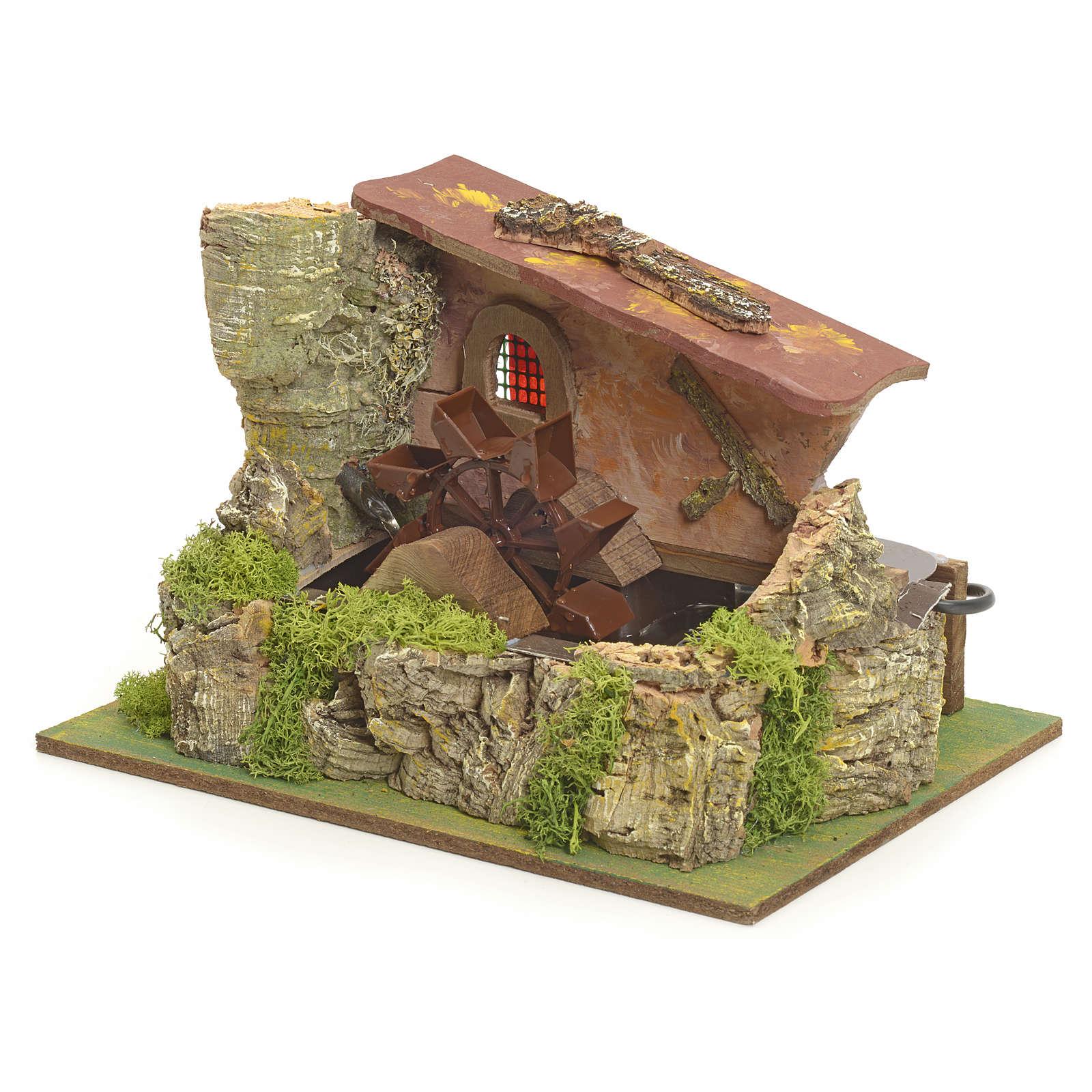 Moulin à eau électrique et maison décor crèche 4