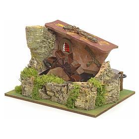 Moulin à eau électrique et maison décor crèche s2