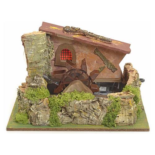Moulin à eau électrique et maison décor crèche 1
