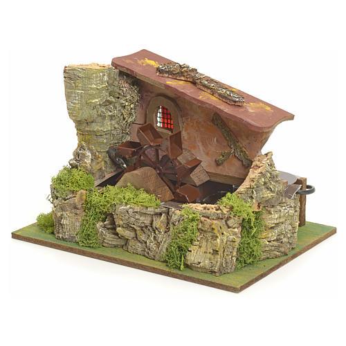 Moulin à eau électrique et maison décor crèche 2