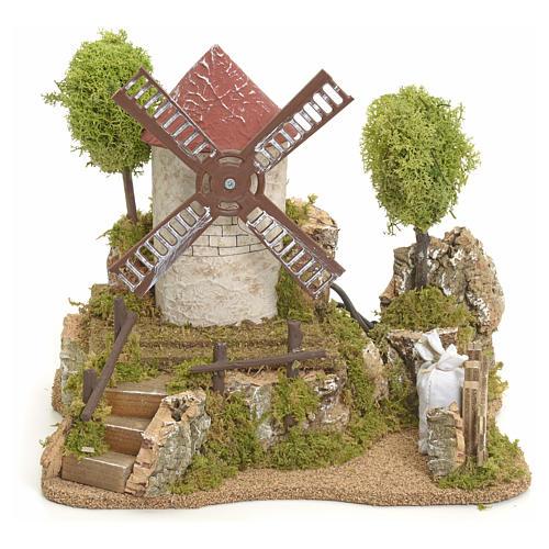 Moulin à vent électrique avec arbres décor de crèche 1