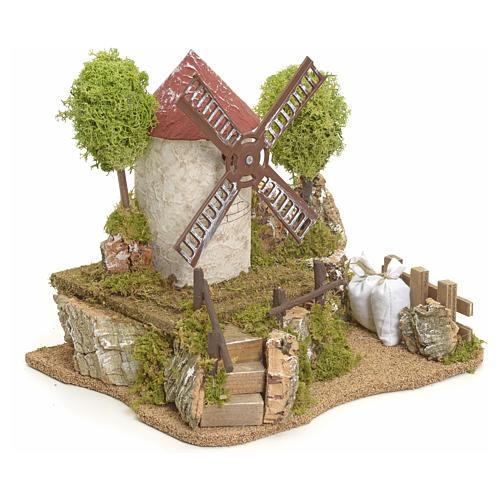 Moulin à vent électrique avec arbres décor de crèche 2