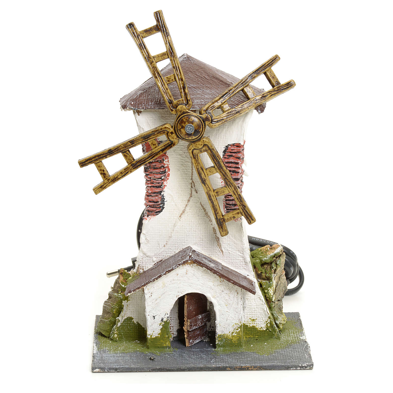 Electric wind mill in stuccoed wood 18x13x10cm for nativities 4