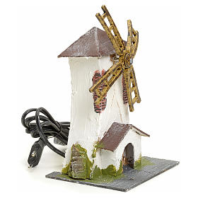 Electric wind mill in stuccoed wood 18x13x10cm for nativities s2