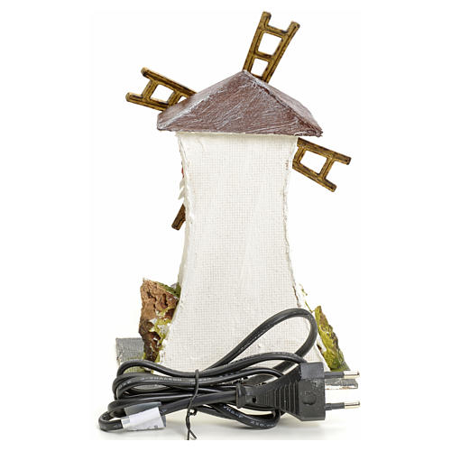 Electric wind mill in stuccoed wood 18x13x10cm for nativities 3