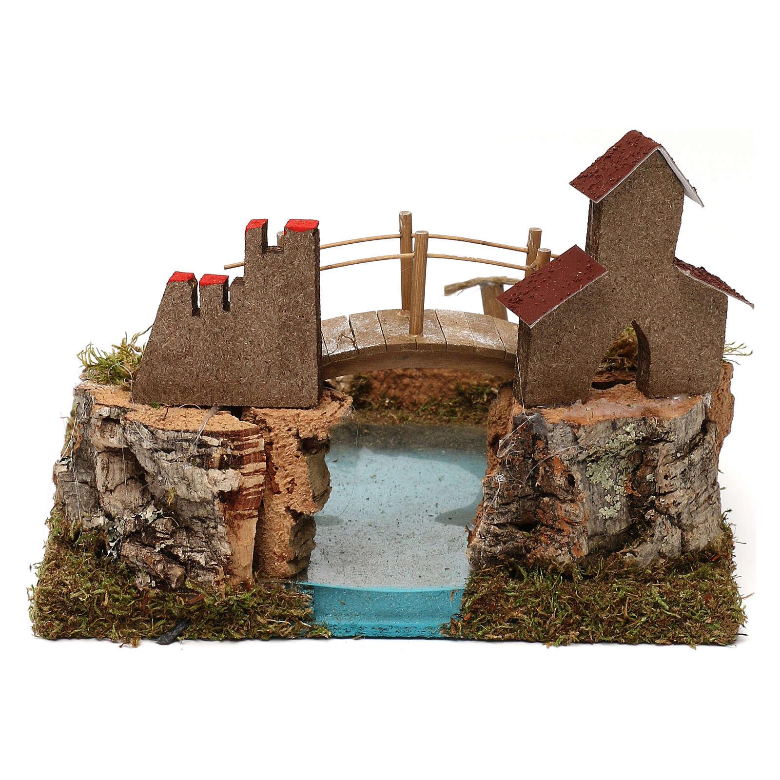 Lago de montaña con puente y animales 4