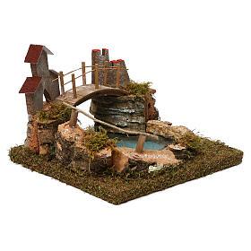 Lago de montaña con puente y animales s4