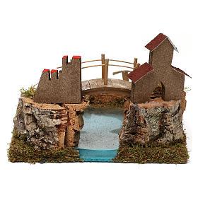 Lago de montaña con puente y animales s5
