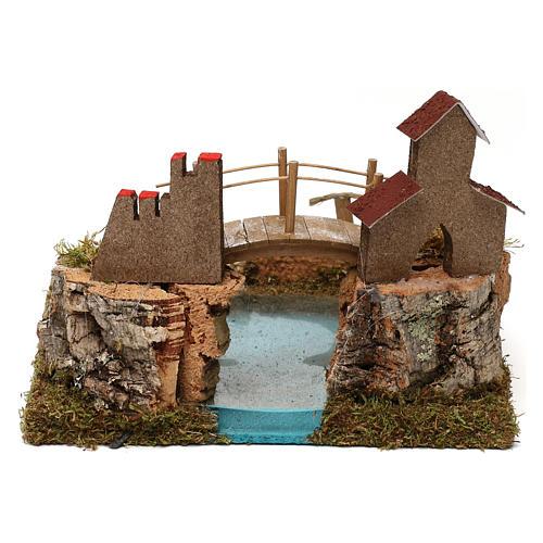 Lago de montaña con puente y animales 5