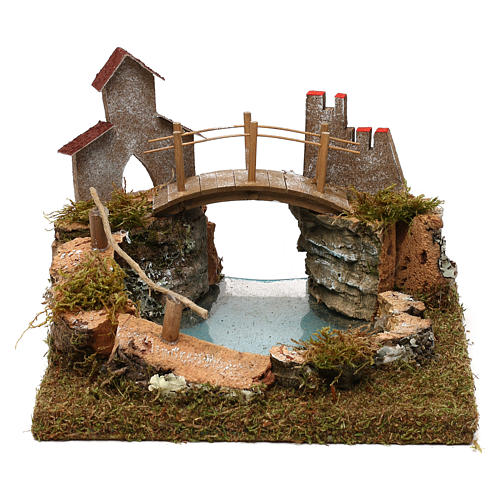 Lac de montagne avec pont et animaux 1