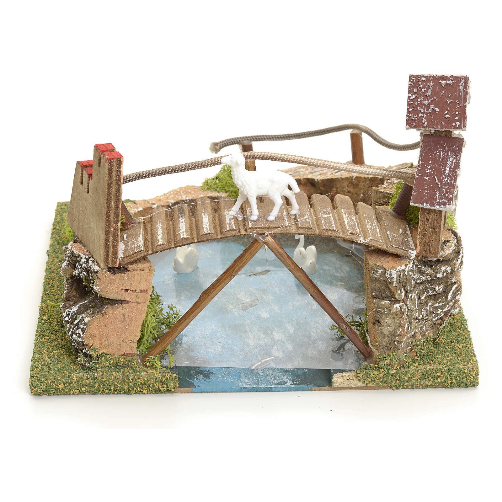 Laghetto di montagna con ponte e animali 4