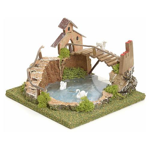 Laghetto di montagna presepe con ponte e animali vendita for Animali da laghetto