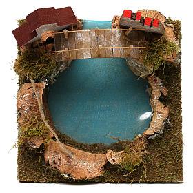 Nativity setting, mountain lake with bridge and animals s2