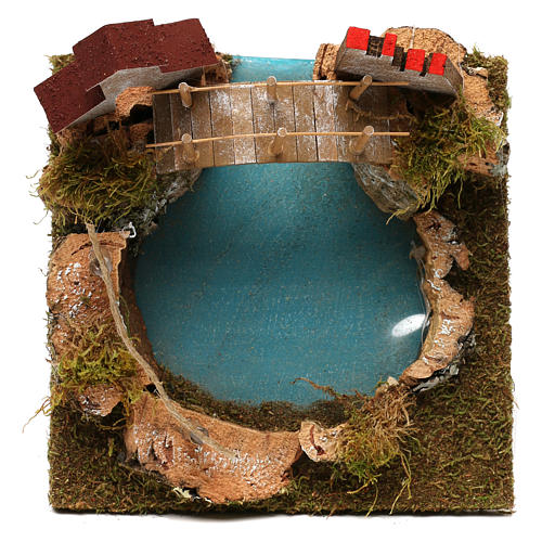 Nativity setting, mountain lake with bridge and animals 2