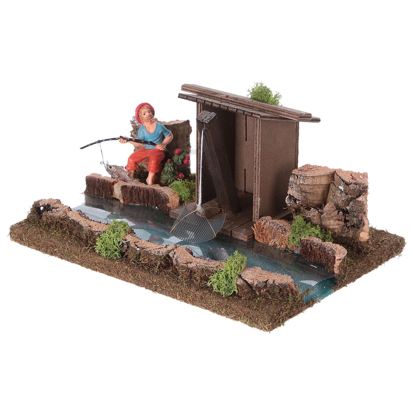 Tratto di fiume con baracca del pescatore 4