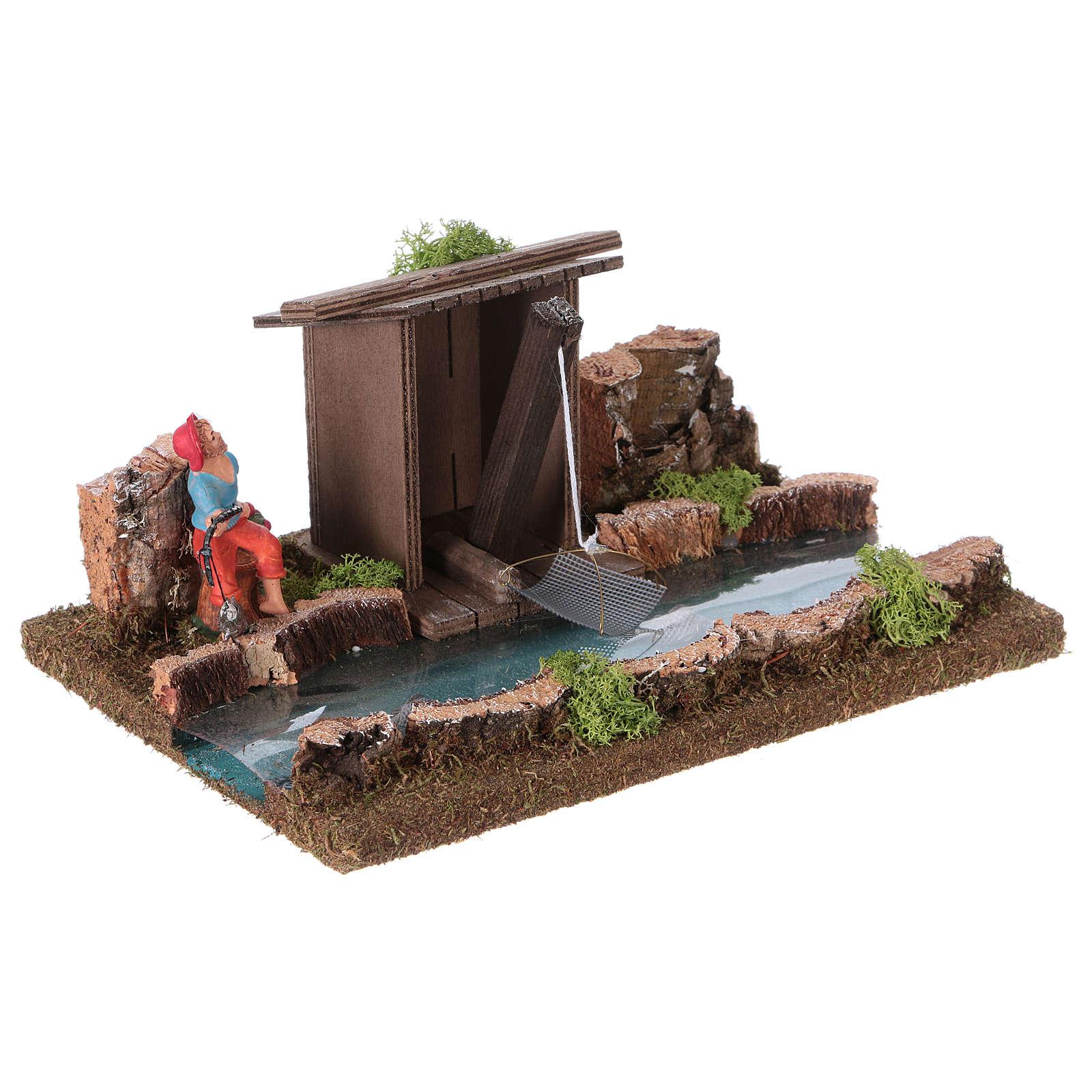 Nativity setting, river with fisherman's hut 4