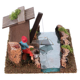 Nativity setting, river with fisherman's hut s4