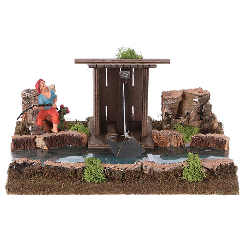 Nativity setting, river with fisherman's hut 1