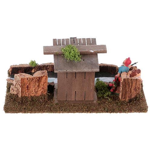 Nativity setting, river with fisherman's hut 5