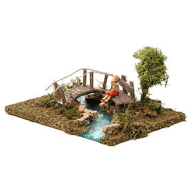 Nativity setting, bridge on river with sitting child s2