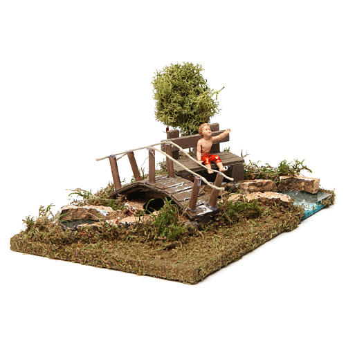 Nativity setting, bridge on river with sitting child 3