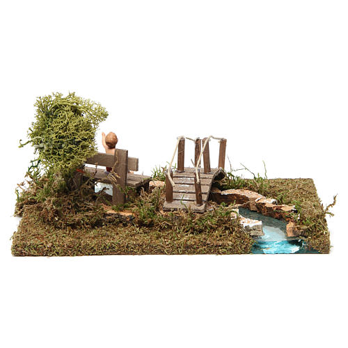 Nativity setting, bridge on river with sitting child 4