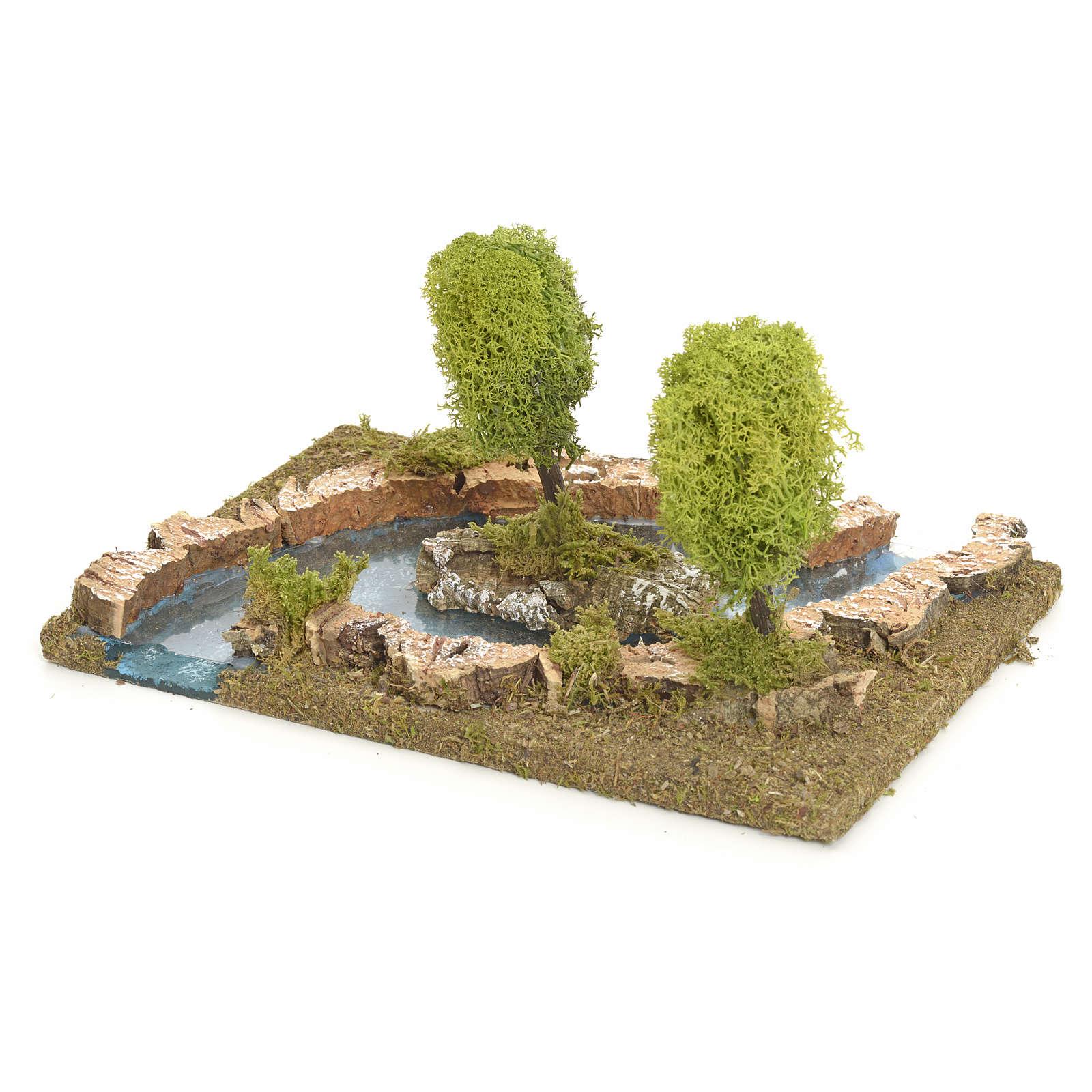 Bras de rivière avec îlot pour crèche de Noël 4