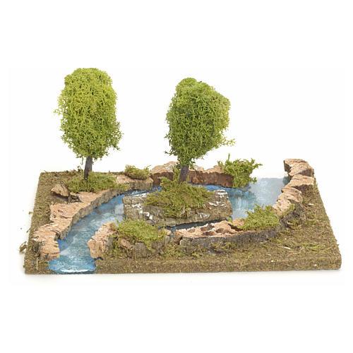 Bras de rivière avec îlot pour crèche de Noël 1