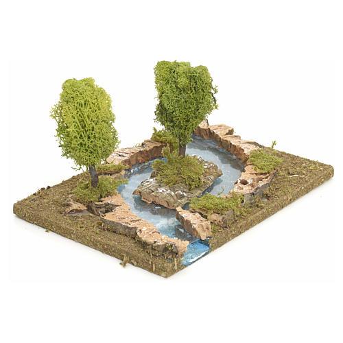 Bras de rivière avec îlot pour crèche de Noël 2