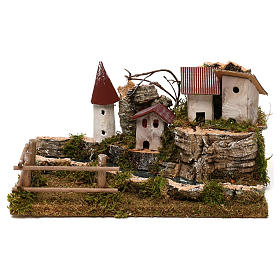 Bridges, streams and fences for Nativity scene: Nativity setting, scenery with river
