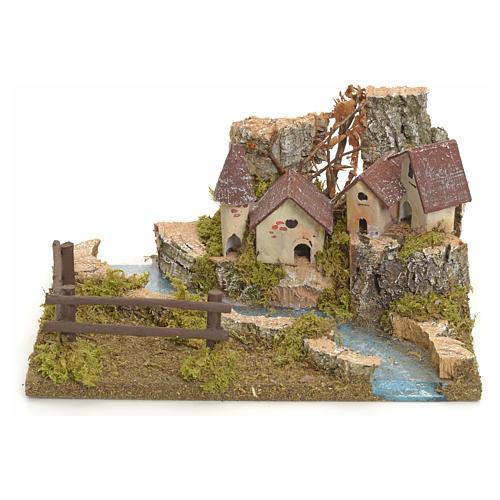 Village sur berge de rivière pour crèche 1