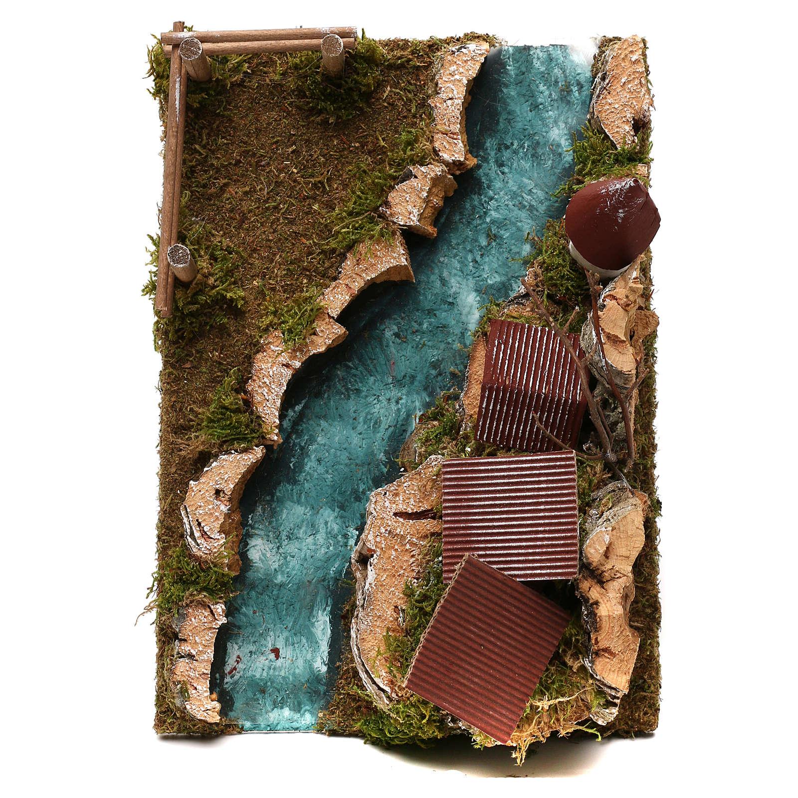 Paese con fiume: ambiente per presepe 4