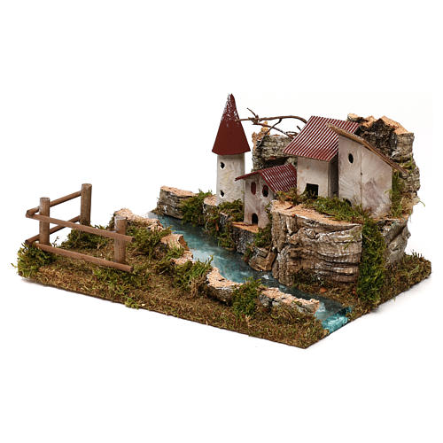 Nativity setting, scenery with river 3